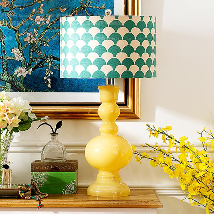 American country yellow crystal glass clothe desk lamp fashionable bridal wedding room blue glass bedside table lamp ZA81142