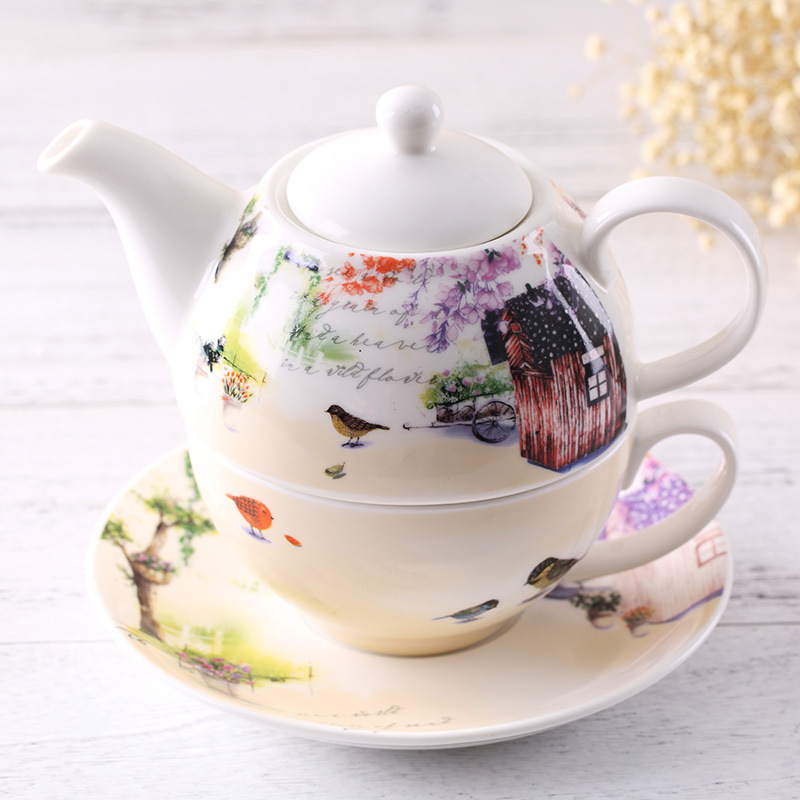 Ceramic Kettle pot teapot coffee pot home three sets of new bone china multi-function coffee cup and saucer