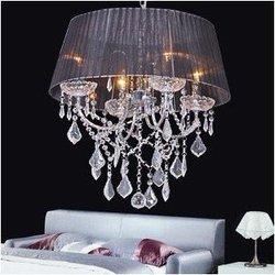 Nowy 48 cm 4*40 w u nas państwo lampy żyrandol abażur czarny/biały/WineCrystal nowe szkło SJ126 w Wiszące lampki od Lampy i oświetlenie na