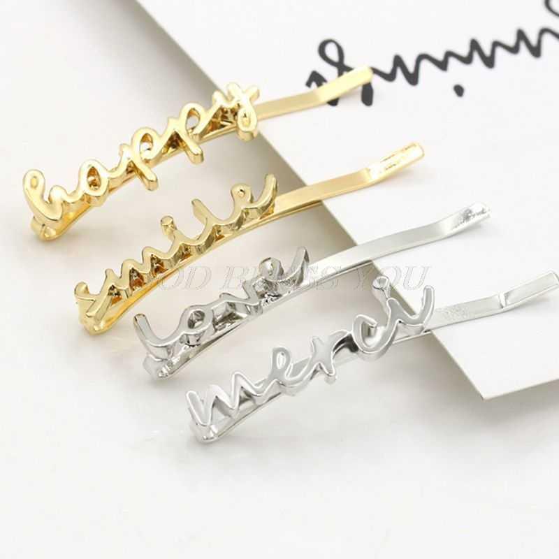 Mulheres Meninas Glitter Metallic Polido Curvo Pinos de Bobby Grampos de Cabelo Ganchinhos Minimalista Escrita Amor Letras Do Alfabeto