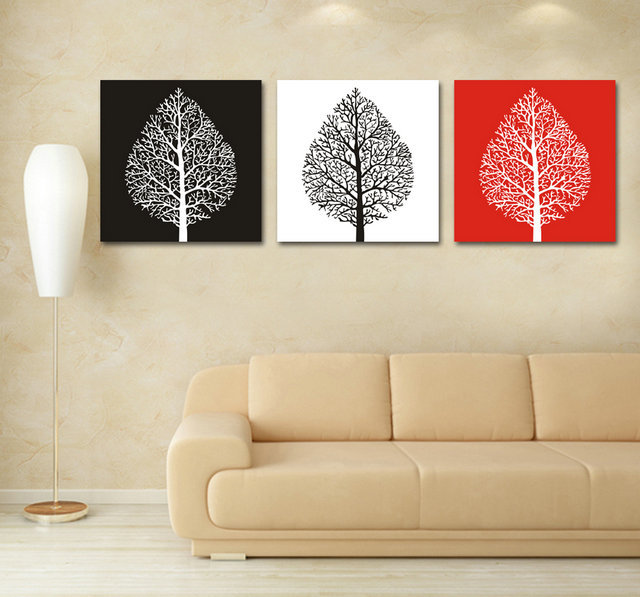 3 pcs canvas prints red white black red tree paintings wall picture home decor wall art canvas. Black Bedroom Furniture Sets. Home Design Ideas