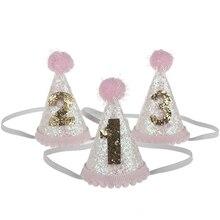 1 предмет) для маленьких девочек, милый 1/2/3 головные уборы на день рождения в горошек с шапочка с помпоном детских празднований дня рождения реквизит для фотосессии детский Декор