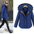 2016 New Fashion Women's Winter Thick Cotton Padded Jacket Parkas Clothes Short Warm Hooded Coat Female Outerwear WY490