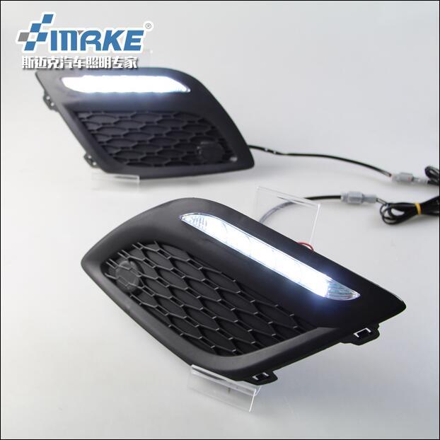 ФОТО Hireno Car LED DRL Waterproof ABS 12V Daytime Running Lights for Volvo XC60 2009-13 Fog lamp 2PCS