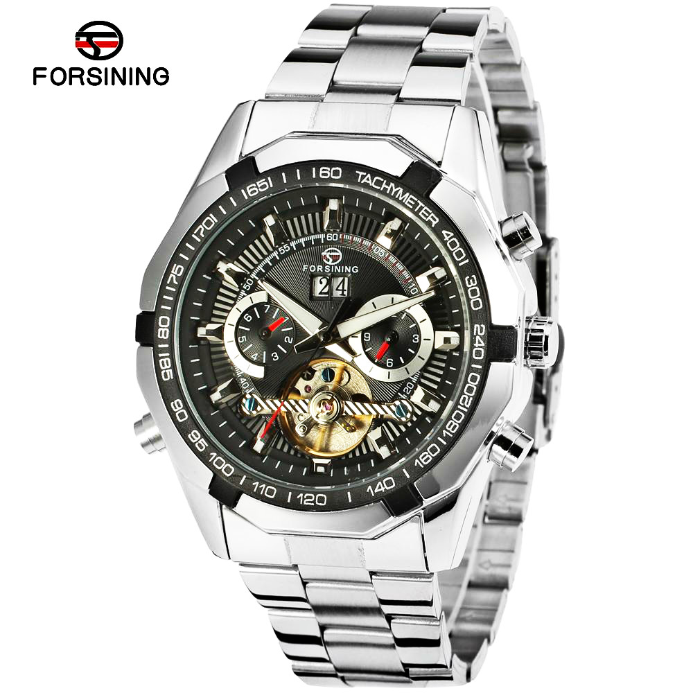 FORSINING Brand Tourbillon Mens Automatic Watch Male Luxury Famous Stainless Steel Mechanical Clock Relogio Masculino Hodinky famous brand stainless steel mens watches top brand luxury automatic watch clock leather strap male sport wristwatch relogio