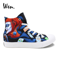 Wen Hand Painted Athletic Shoes Design Custom Joker Harley Quinn Women Flat Sneakers Men Canvas Skate Shoes High Tops