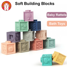 цена на Soft Building Blocks Baby Grasp Toys Rubber Squeeze Toy 3D Touch Hand Ball   Kids Educational Brain Game Toys For Children