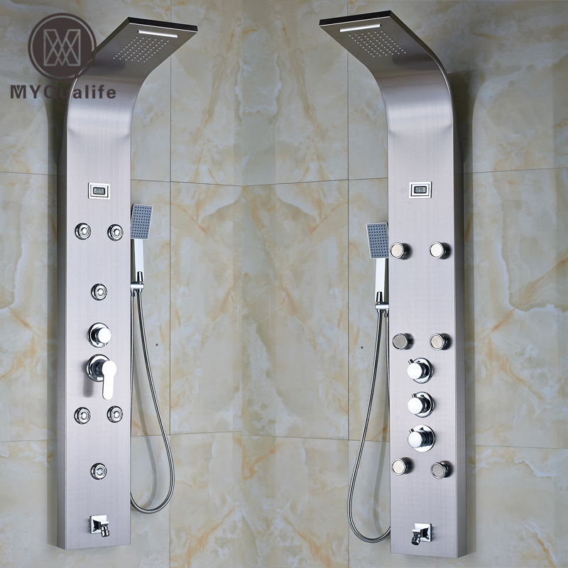 Stainless Steel Rainfall Shower Column Panel with Massage Jets System & Hand Shower & Tub Spout Tower Shower Mixer Faucet Set  ouboni new arrival bathroom rainfall shower panel rain massage system faucet with jets hand shower bathroom faucet tap mixer