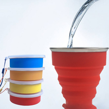 1Pcs 200-300ML Foldable Folding Water Cup Telescopic Collapsible Travel Cups Outdoor Sport Camping Drinkware