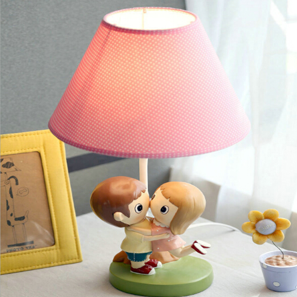 ФОТО High Quality Kids Led Couple Table Lamp 220v In Led Desk E14 Led Table Lamp Wedding Gifts Switch Button Reading Bed Light
