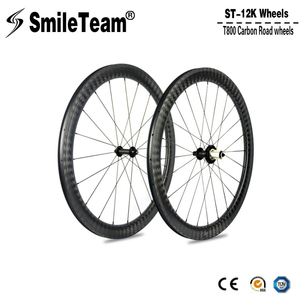 Smileteam 12k Matte Carbon Road Bike Wheels 700C 50mm Clincher Racing Bicycle Wheelset 25mm Width R51 Hubs 11 Speed For Shimano mountain bike four perlin disc hubs 32 holes high quality lightweight flexible rotation bicycle hubs bzh002