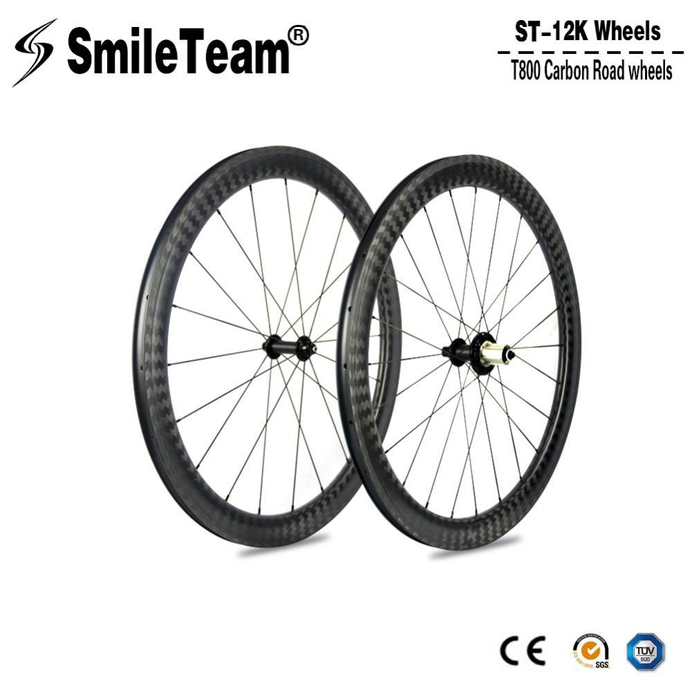 Smileteam 12к матовый Дорожный велосипед колеса углерода 700c 50 мм Клинчер гоночный велосипед колесной 25 мм Ширина Р51 концентраторы 11 скорость для Shimano