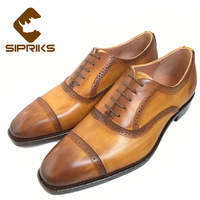 Sipriks Custom Unique Yellow Leather Punched Shoes For Men Goodyear Welted Dress Shoes Quarter Brogue Oxfords
