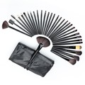 32 PCS  Professional Cosmetic Facial Make up Brush Kit Wool Makeup Brushes Tools Set with Black Leather Case