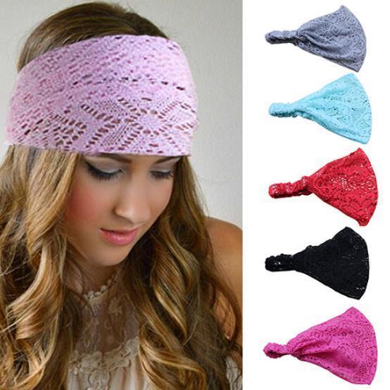 Lace Openwork Headband Ladies Elastic Hair Band Accessories Wide Stretchy Turban Women's Fashion Headwrap Bandana