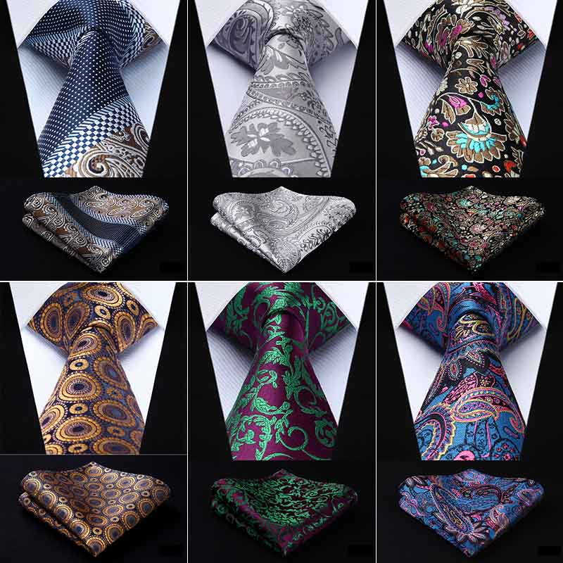 HISDERN Wedding Cravat Pre-tied Ascot Tie and Pocket Square Set for Men Satin Casual Paisley Stripe Ascots