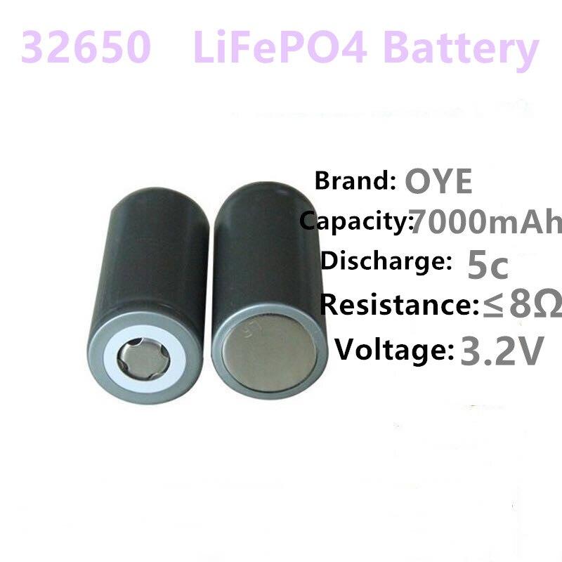 2 PC/OYE 32650 batería 3,2 v 6500 mAh lifepo4 batería recargable, celda LiFePO4 5C batería de descarga para la copia de seguridad de linterna