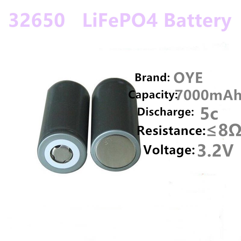 2PC/OYE 32650 battery 3.2v 7000mAh lifepo4 rechargeable battery cell LiFePO4 5C discharge battery for Backup Power flashlight