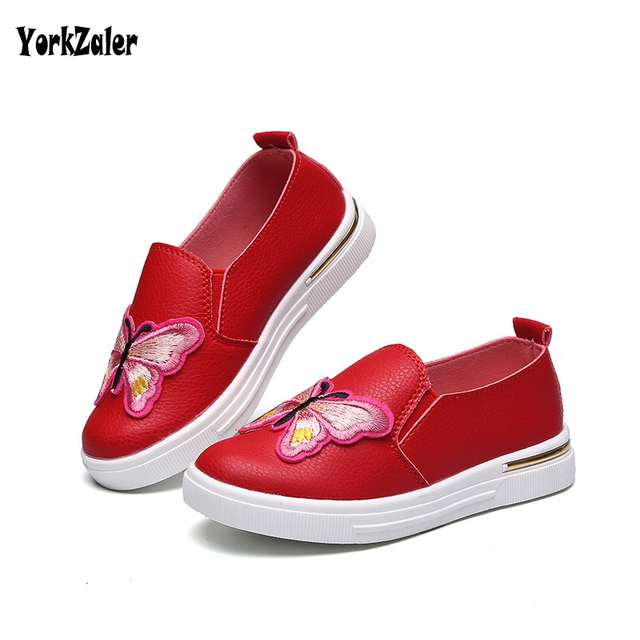 9c51448f78a24 Yorkzaler Enfants Papillon En Cuir Chaussures Printemps Automne  Appartements Chaussures Pour Fille Garçon Adolescent Rouge Noir