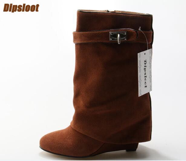 2018 Hot Brown Suede Leather Women Pointy Toe Mid-Calf Boots Inceased Heel Ladies Buckles Knight Boots Slip On Wedge Boots hot selling chic stylish black grey suede leather patchwork boots mid calf spike heels middle fringe boots side tassel boots