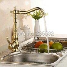 Роскошный Золотой Латуни Кухня Одной Ручкой Поворотный Кухня Раковина Кран и Ванной Смеситель Краны На Бортике lgf014