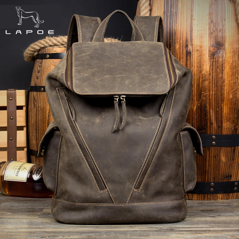 LAPOE large capacity vintage crazy horse genuine leather backpack men travel backpack women leather bag mochila hombre vintage multifunction genuine leather men backpack bag vintage crazy horse cow leather large capacity travel rucksack anti thief mochila