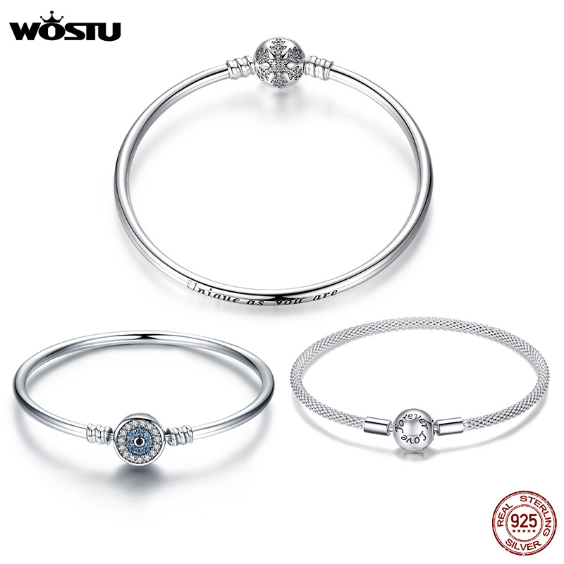 WOSTU 100% 925 Sterling Silver Original Bracelets Snowflake Blue Eyes Zircon Chain Fit Women Bracelet & Bangle Luxury Jewelry