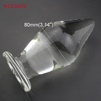 Large size pyrex 80mm glass anal butt plug huge crystal dildo big bead penis Adult female masturbation Sex toy for women men gay