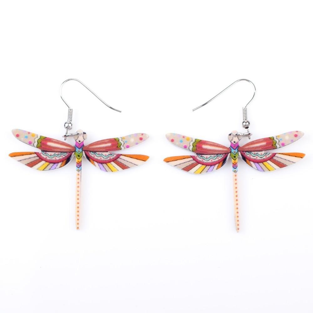 Muoti sormukset sudenkorento korvakorut akryyli pitkä pudota - Muotikorut - Valokuva 3