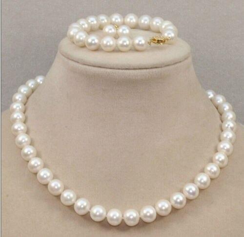 Оптовая цена 16new ^ классический 10 11 мм Южное море круглый белый жемчуг ожерелье браслет серьги 18 inch14k