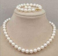 Оптовая цена 16new ^ классический 10 11 мм Южное море круглый белый жемчужное ожерелье, браслет, серьги 18 inch14k