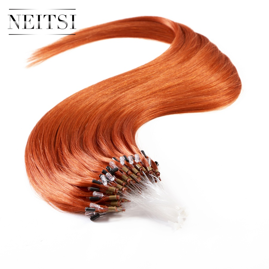 Neitsi Straight Brazilian Loop Micro Ring Bead Links Hair Extensions 100 Remy Human Hair 16 20
