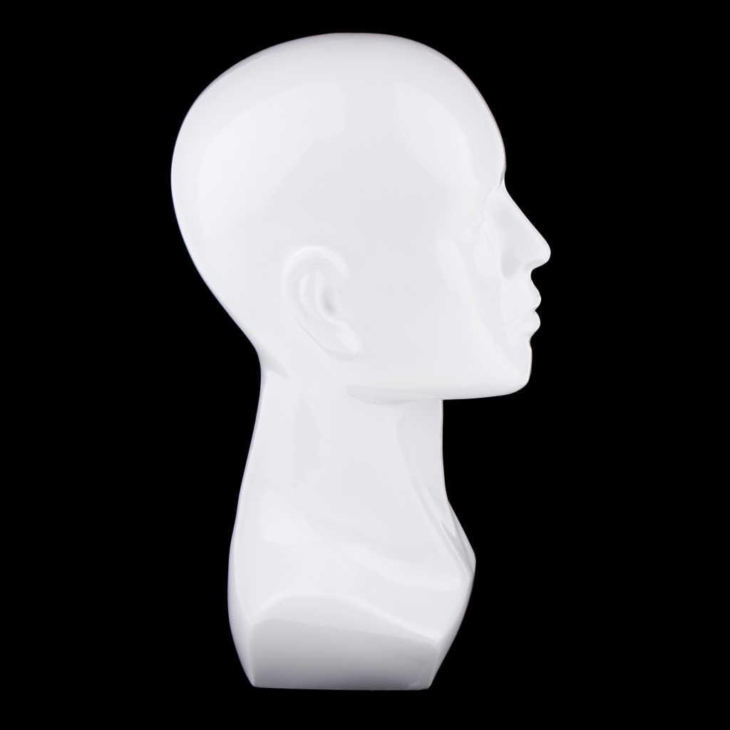 Mannelijke Mannequin Hoofd Haar Pruiken Hat Cap Glazen Display Model Stand Wit