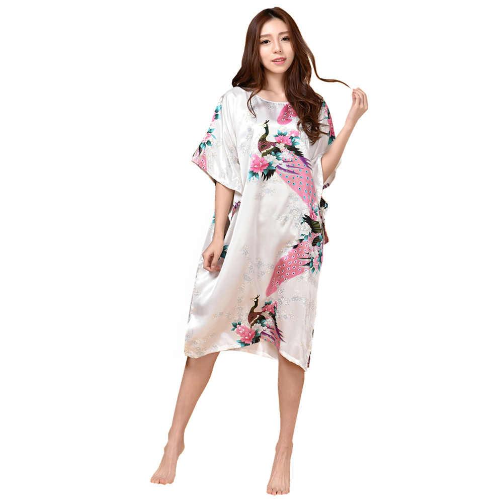 Большой размер, Модный женский халат с принтом, Синяя Женская искусственная шелковая ночная рубашка, летняя ночная рубашка, пижама, Muje TB07A