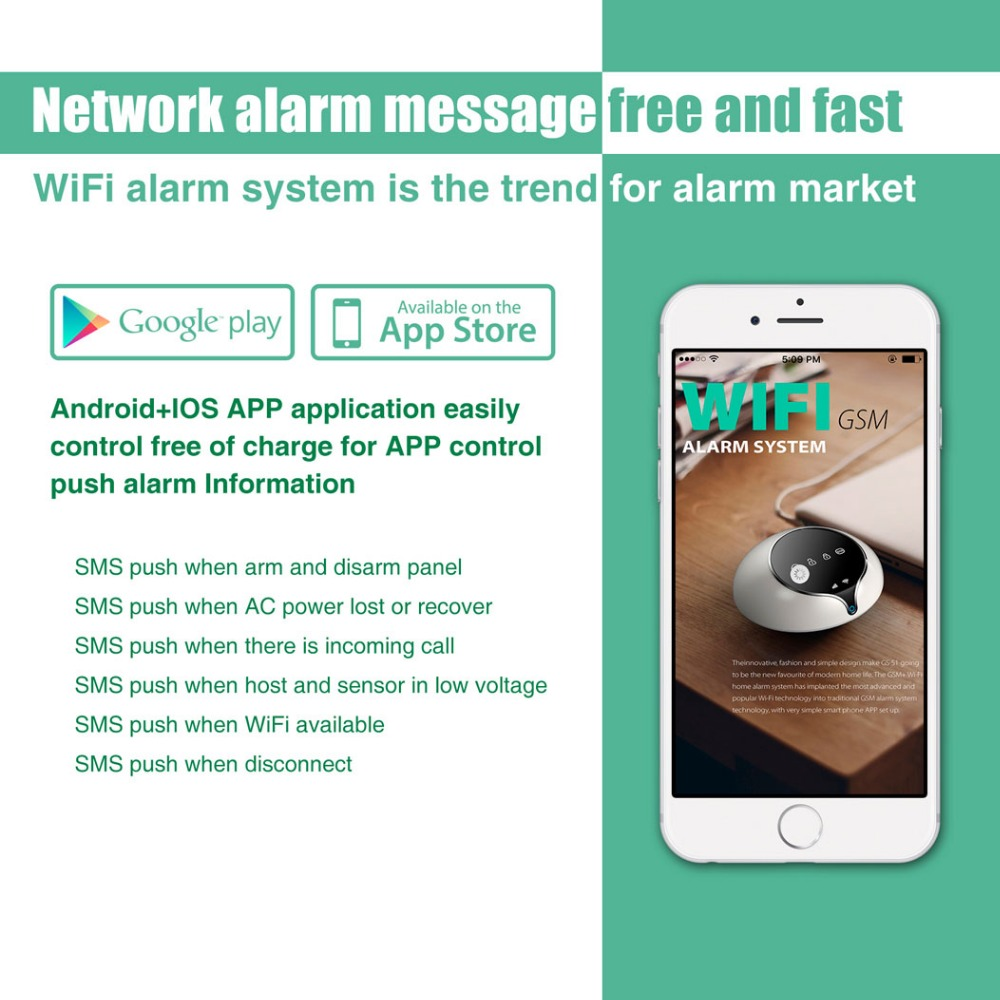 Golden Security 3G WCDMA GSM WIFI Home Alarm System Wireless Security Pet Immune PIR Door Window Sensor Alarm APP Control