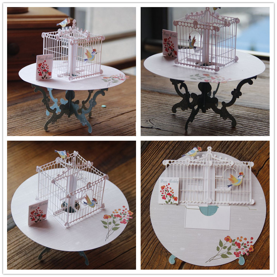 3d Laser Cut Handmade Cute Table Bird Cage Paper Invitation Greeting