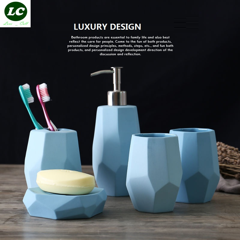 free shipping 5pcs Cartoon bathroom jingdezhen ceramic bathroom tool set cups set LUXURY