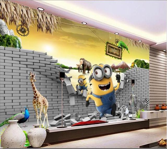 3D Wallpaper Custom Room Murals Non Woven Wall Sticker Animation Despicable  Me Minions Photo F