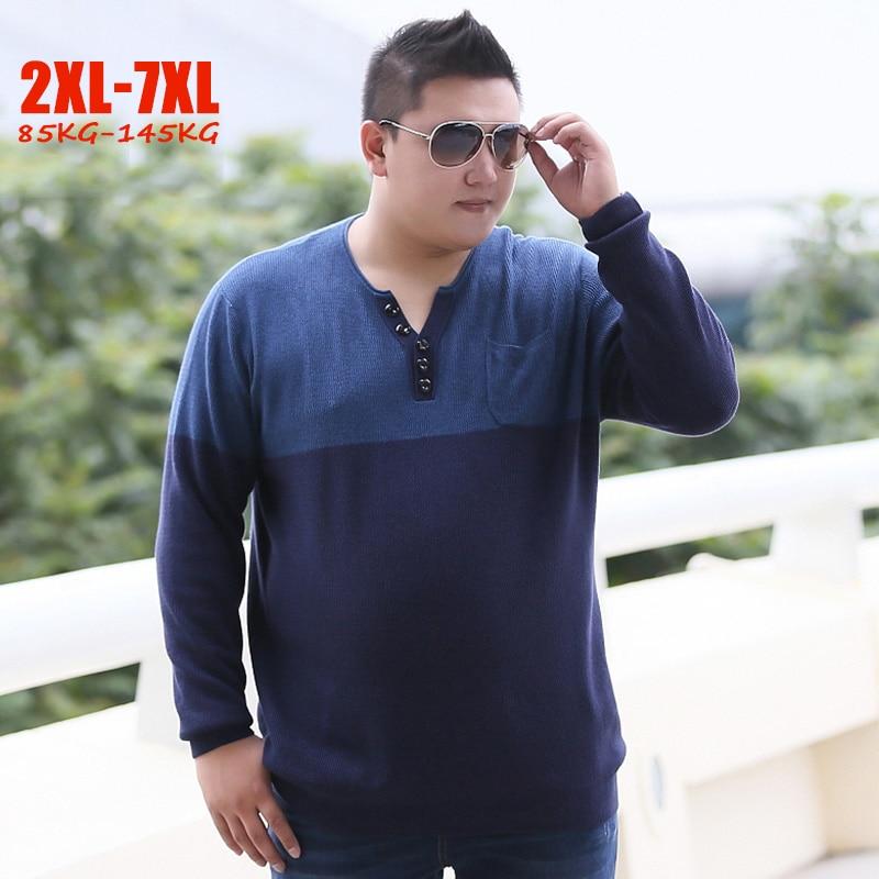 2018 Winter New Plus Size 2XL-7XL Men's Sweaters Large Size 6XL 7XL Sweaters Men V-neck Loose Breathable 85kg-145kg Men Sweaters