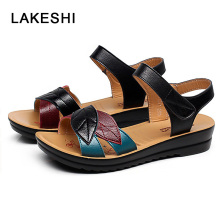 LAKESHI Wedge Sandals Summer Flat Sandals Fashion Women Sandals 2018 Spring Mother Sandals Casual Women Shoes Mixed Colors