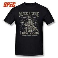 100% Cotton Tee Shirt Unikalne Crewneck Żołnierza Wojskowe Retro Vintage Koszulki Gorąca Sprzedaż Mężczyzna Zwierają Rękaw Koszulki Druku