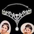 2016 мода серебряный кристалл глава драгоценности головной убор свадебный люкс тиара и короны для ну вечеринку свадебные аксессуары для волос