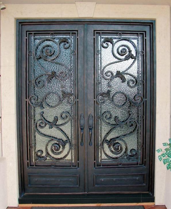 Simples portes pour design moderne en fer forg portes lm for Prix porte en fer forge