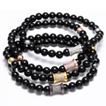 Micro Pave zircon Nature Stone Agate Onyx Bead Bracelet Gold Plated Black Yoga Bracelets Men Women Gift pulseras Mujer Pulseras