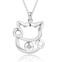 2016 new top quality Silver Plated & Stamped 925 lovely  hollow open Lucky Cat stone women necklace pendant jewelry trendy