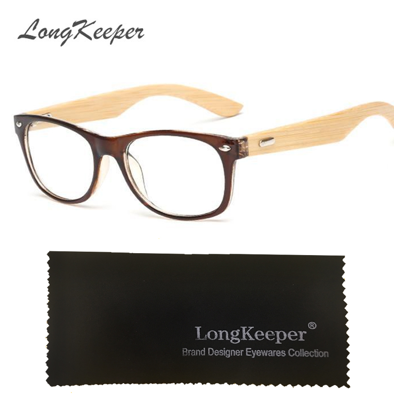 LongKeeper Bamboo Glasses Frame Men Women Eyeglasses Wood Spectacle Frames Original Wooden Temple Eyewares Optical Myopic oculos