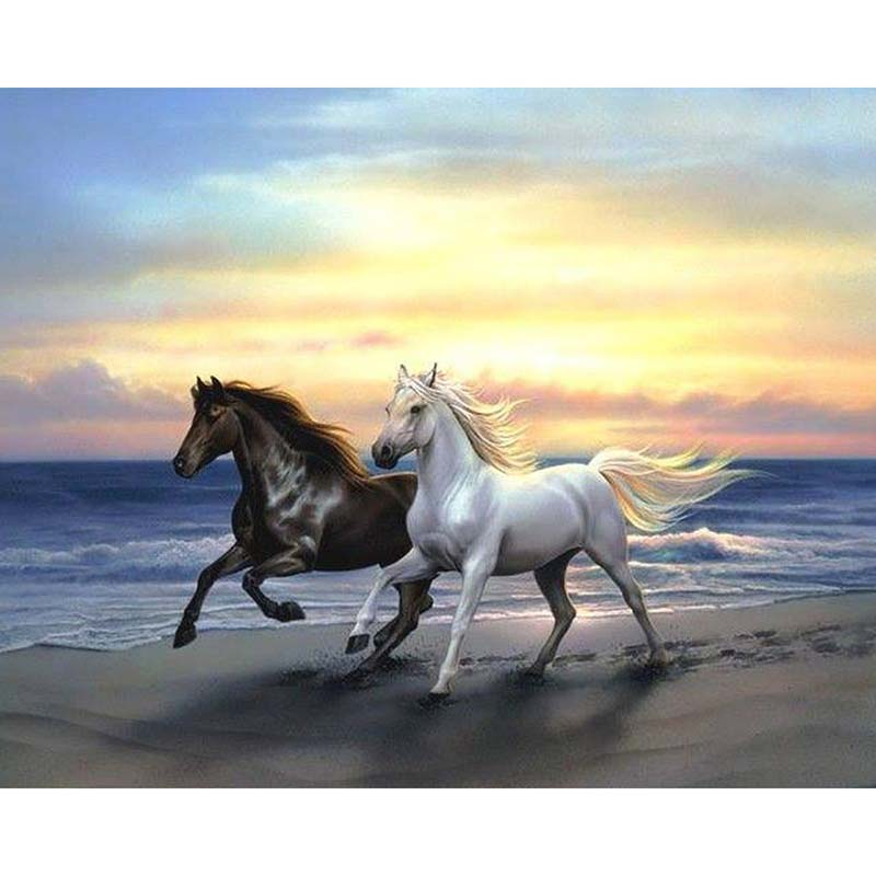 full square diamond 5d diy diamond painting Horse running in the sunset 3D Embroidery Cross Stitch Mosaic Painting Home Decor