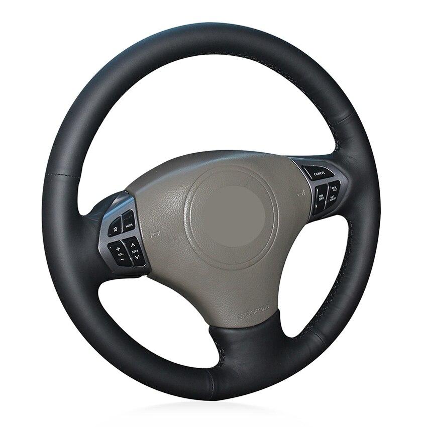 Couvre-volant de voiture antidérapant en cuir véritable noir cousu à la main pour Suzuki Grand Vitara 2006 2007-2013 2014