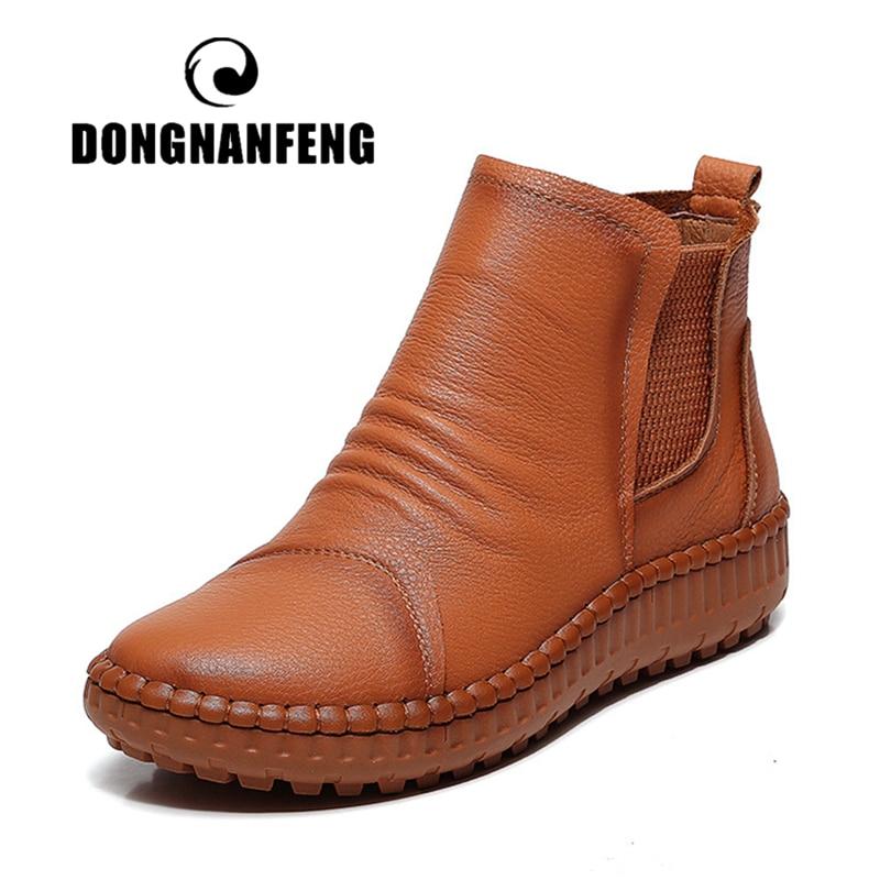 DONGNANFENG جديد النساء القديمة الأم الإناث السيدات الأحذية الأحذية البقر جلد طبيعي عارضة الانزلاق على جلد الخنزير لينة جولة حجم 35  40 XY 2-في أحذية الكاحل من أحذية على  مجموعة 1