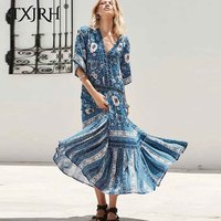 TXJRH 2019 Vintage Ethnic Blue Floral Print Hollow Out Bohemia Loose Dress Fashion V Neck Half Sleeve Beach A Line Swing Dress